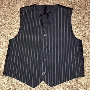 Other - Boys Black with Blue pinstriped Vest